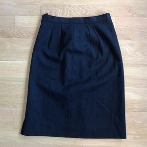 vintage black pleated wool pencil skirt